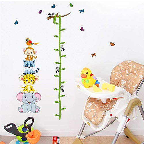 WHFLL Cartoon kinderen meetlat muursticker kinderen kinderkamer muurtattoos dier hoogte meten slaapkamer PVC DIY decoraties
