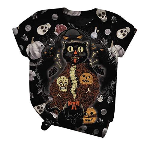 Halloween Tops for Women Short Sleeved Black Cat Skull Pumpkin Graphic T-shirt Blouse Round Neck Knotted Hem Blouse