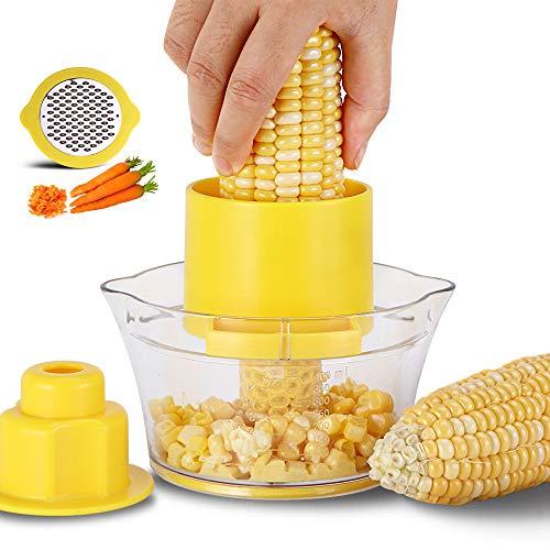 Dispositivo de trilla de maíz de cáscara multifuncional de acero inoxidable Dispositivo de trilla de maíz práctico Utensilios de cocina suministros Gadget de cocina (Color : Yellow color)