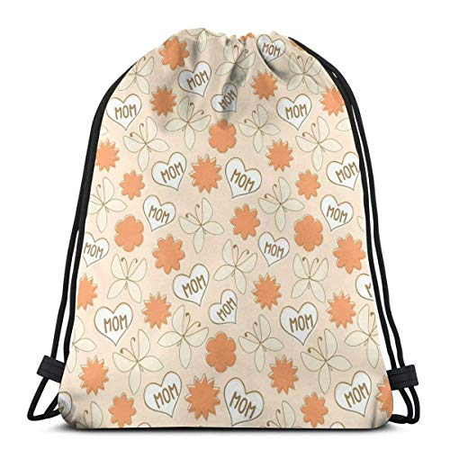 GeorgoaKunk Zaino con Coulisse Love Mom Butterfly Bright 3D Print String Bag Sackpack Cinch Tote Bags Regali per Donna Uomo Palestra Shopping Sport Yoga