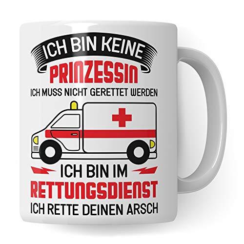Tasse Rettungsdienst Sanitäterin, Rettungssanitäterin Kaffeebecher Notärztin Geschenk Frau Spruch, Krankenwagen Sanitäter Becher Geschenkidee