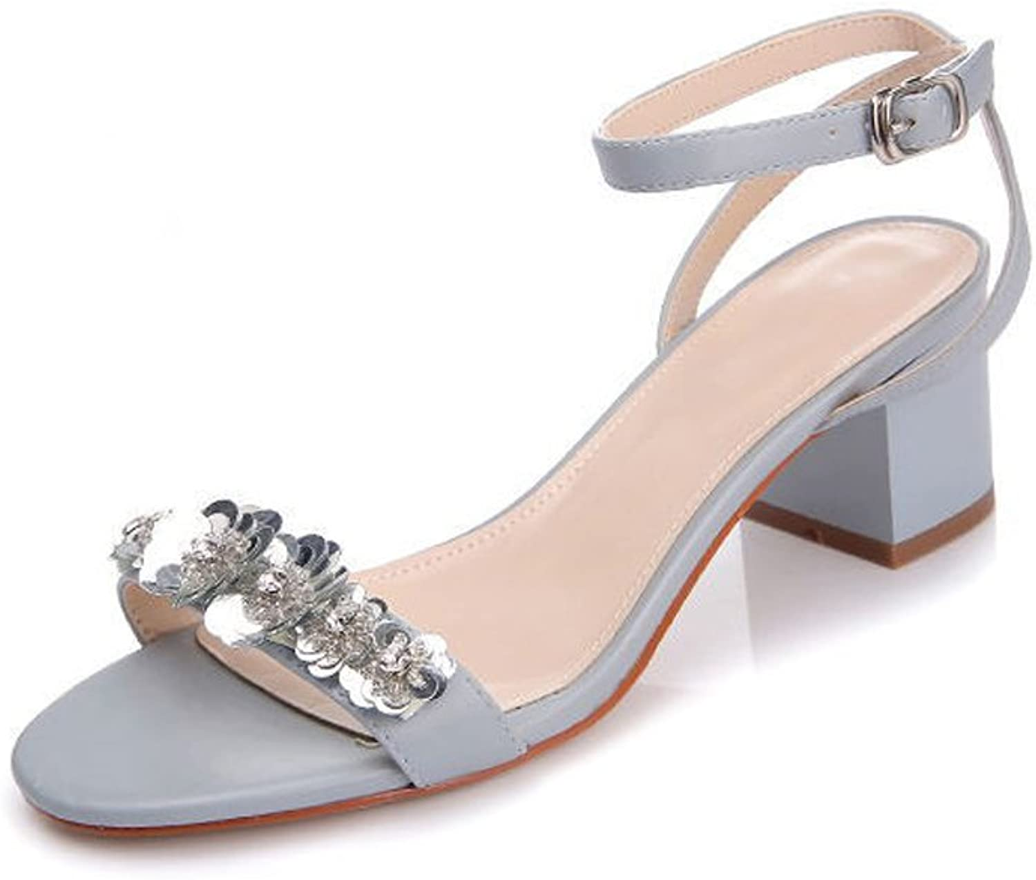 YXLONG Sandals Female Summer New Fashion Sequins Buckle with Coarse with Open Toe Ladies Sandals shoes