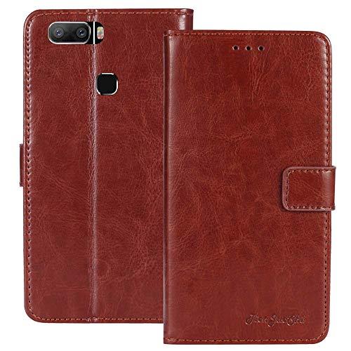 TienJueShi Braun Premium Retro Business Flip Book Stand Brief Leder Tasche Schutz Hulle Handy Hülle Abdeckung TPU Silikon Wallet Cover Etui Skin Fur LEAGOO S8 Pro 5.99 inch