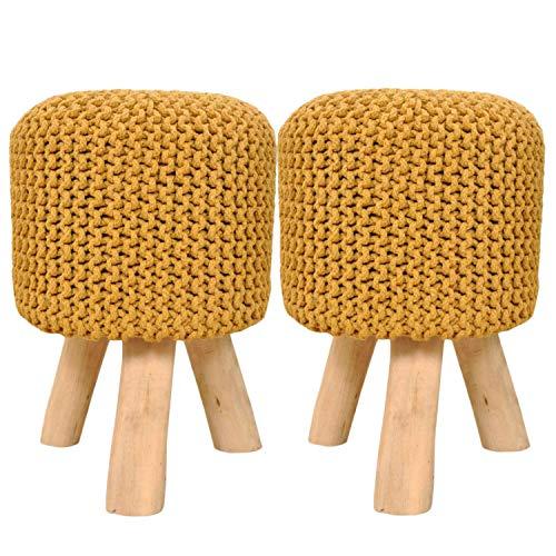 casamia Sitzhocker Set 2 Stück Strick-Hocker Pouf Schemel mit Holzfüßen Ø 35 cm Höhe 45 cm viele Farben Farbe zitronengelb