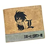 ASLNSONG Leather Bifold Short Wallet With Coin Pocket Cartoon Casual Short Wallet Fan Accessory For Boys And Girls 4.72in x 3.9in (Death Note)