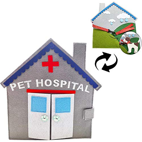 Baobë Libros de Fieltro de Animales para niños, Libros de Actividades y Aprendizaje para el Desarrollo de la educación temprana Libro Mono de Hospital de Mascotas para niños pequeños, bebés de