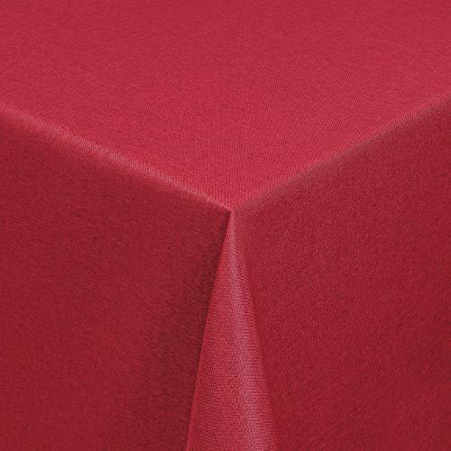 Leinen Optik Tischdecke Tischtuch Tafeldecke Leinendecke Abwaschbar Wasserabweisend Eckig 130 x 220 cm Dunkelrot Fleckschutz Pflegeleicht mit Saumrand Leinentuch