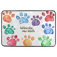 面白い犬の装飾的な玄関マット滑り止め洗えるカラフルな子犬犬猫の足の爪ようこそ屋内屋外エントランスバスルームフロアマットペット猫犬マット家の装飾40cm x 60cm