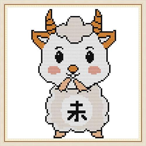 Kits de punto de cruz estampados, OWN4B Zodiaco chino – Patrón impreso ovejas 11CT 11x11 pulgadas Kit de bordado DIY (ovejas)