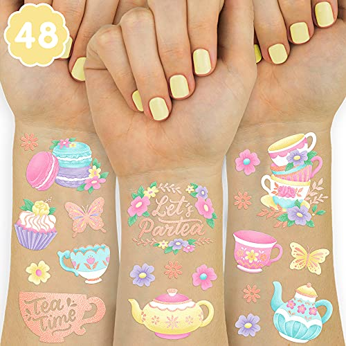 xo, Fetti Tea Party Temporary Tattoos - 48 Glitter Styles | Partea Birthday Party Supplies, Tea Kettle, Cupcakes, Butterfly Arts and Crafts