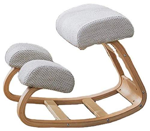 QMZDXH Ergonomic Kneeling Chair Office Chair Kneeling Stool Spine Correction Chair Kneeling Stool Wooden Kneeling Chair for Home and Office Grey