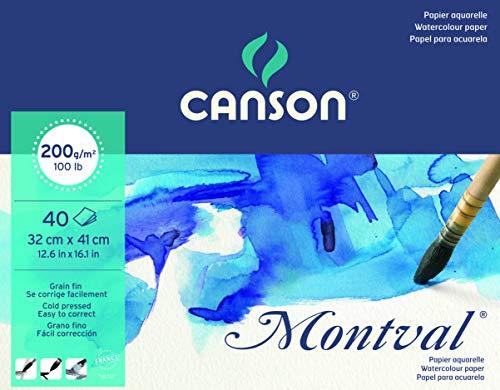 Canson Montval Papier aquarelle 32 x 41 cm 40 feuilles Blanc naturel