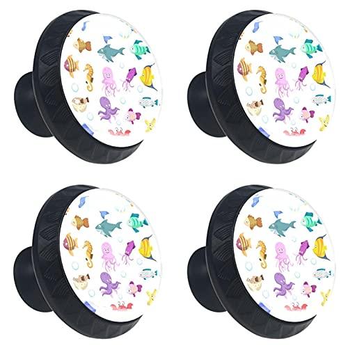 Z&Q Pomos y Tiradores Infantiles Coloridos Animales Marinos 4 Piezas Pomos Cristal de plástico Negro Tiradores de Muebles para Habitación Infantil 3.5x2.8CM