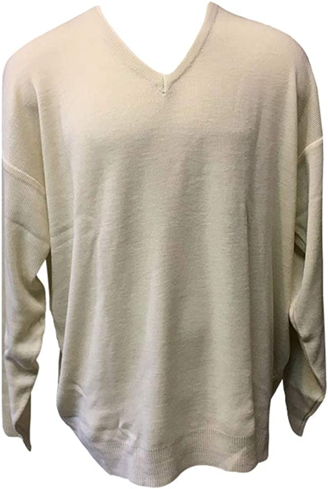 Grand Isle 100% Cotton Big and Tall V-Neck Cable Sweater 6XLT Cream