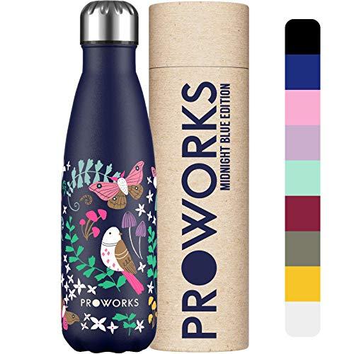 Proworks Botellas de Agua Deportiva de Acero Inoxidable | Cantimplora Termo con Doble Aislamiento para 12 Horas de Bebida Caliente y 24 Horas de Bebida Fría - Libre de BPA - 350ml - Magia del Bosque