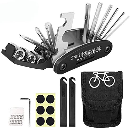 WELLXUNK Bicicleta Multiusos Herramientas, 16 en 1 Bicicleta Kit de Reparación, Ciclismo Reparación Herramientas con Parches y Bolsas de Almacenamiento, Usado Como Mantenimiento de Bicicletas