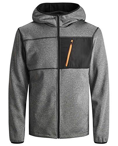 JACK & JONES Herren Fleece Jacket Kapuzenpullover Hoodie Sweatjacke Sona Core Sweatshirt Sweat Hood S M L XL XXL (M, Grau)