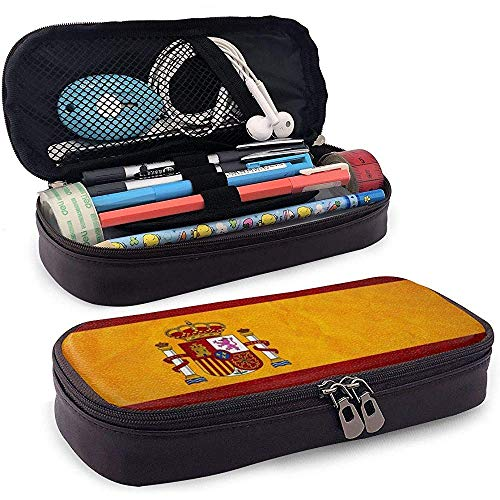 Estuche de lápices de cuero de alta capacidad con bandera de España Estuche de lápices Estuche de papelería Organizador de caja Organizador Marker Pen Bolso de cosméticos portátil
