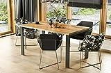 Endo-Moebel Design Esstisch Garant 80cm - 215 Metall erweiterbar Metallgestell Küchentisch (Wotan Eiche)