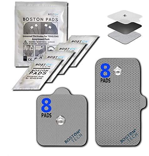 Boston Tech Electrodos autoadhesivos Reutilizables Compex supersoft para unidades de TENS/EMS de estimulación muscular, Conexión Snap (Botón) Tecnología Premium de 3 Capas. 16 Unidades.