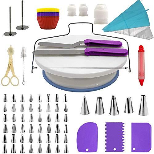 NBSXR 106Stks Complete taartdecoratieset, draaitafel, spatel, mondstukken, gebak tassen, koppels, schrapers, voor beginners en taartliefhebbers