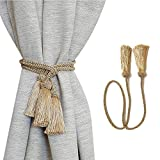 PARANNIC Curtain Tiebacks, Decorative Drapery Tassel Tieback Curtain Ties Holdback Silver 38Inch Gold Brown Color for Home Office (6, Gold)