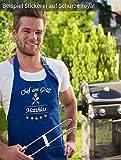 Direkt-Stick.de Grillschürze mit Namen Bestickt, Schürze für Männer, PERSONALISIERBAR, Stickerei Chef am Grill, Latzschürze, Kochschürze 100% Baumwolle, Geschenk für Männer, Vatertag (schwarz) - 3