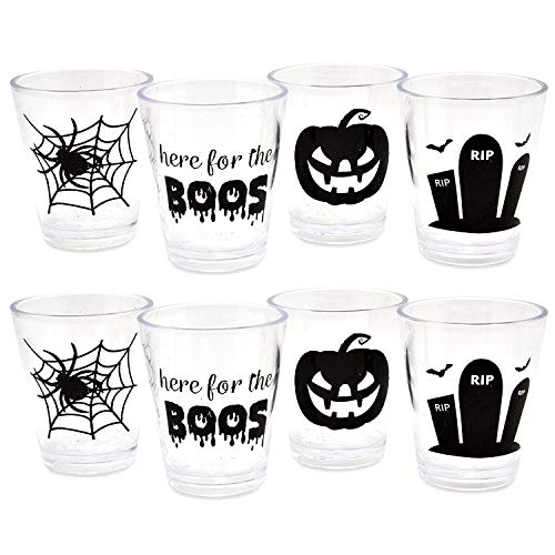 Plastic Reusable Halloween Whiskey Shot Glasses Set of 16 Drinking Cups Here for the Boos RIP Tombstone Spider Web and Pumpkin Party Decorations by Gift Boutique