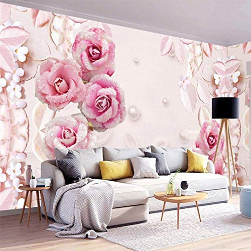 NMW Art Murals, Wallpaper 3D Stereo Romantic Pink Rose Pearl Jewel Background Wall Mural Living Room Wedding House Wallpaper for Wall,1 ㎡