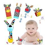 Tibroni 5 Pezzi Baby Rattle Neonato Sonagli Calzini Polso,Simpatici Animaletti Developmental Toys,Giocattoli per Neonati Adatti per Neonati o Ragazze per Bambini di 0-3, 3-6, 6-12 Mesi