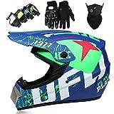 4 Piezas Casco Motocross Niño, Diseño UFO Adulto Casco Integrales set con Gafas Máscara Guantes, DTC & ECE Certificación, Cascos Cross Moto para BMX Bicicleta Dirt Bike MTB ATV Offroad DH, Azul mate