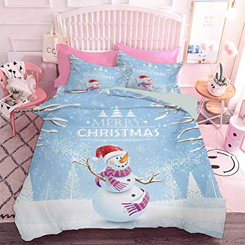 3pcs Bedding Set Cute Snowman in a Snowy Winter Day with Xmas Hat Frosty Noel Kids Nursery Theme (3pcs, King Size) 3D Lifelike Printing Duvet Cover