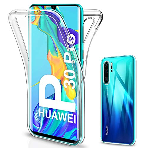SOGUDE Coque pour Huawei P30 Pro Etui, Huawei P30 Pro Coque Transparent Silicone TPU Case Intégral 360 Degres Full Body Protection Coque Housse pour Huawei P30 Pro