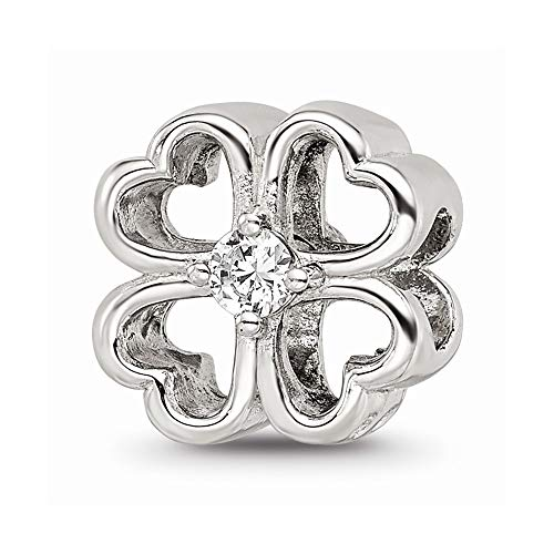 925 Sterling Silver Charm For Bracelet Four Leaf Clover Cubic Zirconia Cz Bead Good Luck Floral Celtic Stone Crystal Ed Clear Fine Jewelry For Women Gifts For Her
