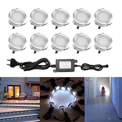 QACA 10er LED Einbauleuchten Bodeneinbaustrahler Kaltweiß 6500K Deckenspot Einbaustrahler Deckenleuchte Wasserdicht IP67 Einbaulampe 0.6W Ø30mm Außenleuchten für Küche Garten Treppen Balkon Terrasse