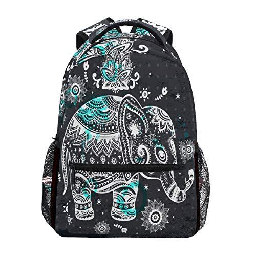 ZZKKO Indian Elephant Tribal Computer Backpacks Book Bag Travel Hiking Camping Daypack
