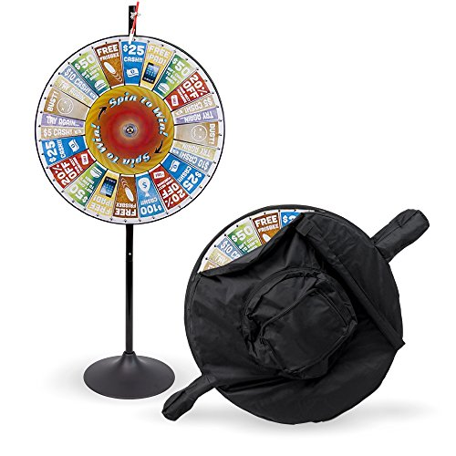 MIDWAY MONSTERS 36' Customizable Prize Pocket Insert Spinning Prize Wheel with Premium Protective Carry Bag Case, Extension Base, Extension Pole