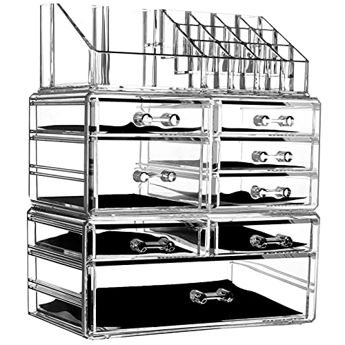 """Cq acrylic 8 Drawers and 16 Grid Makeup Organizer,9.5""""x6.5""""x11.8"""",Clear 2 Piece Set"""