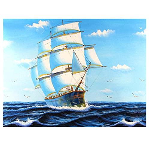 EWRH 5D DIY Diamond Painting Sea Sailing Boat 40X30CM Adult Diamond Painting Kit Cross Stitch Kit Full Rhinestone Diamond Artist Home Decoration M5700