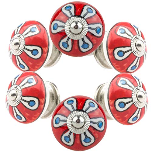 Set di 6 pomelli per mobili in ceramica n. 111 049JKGH rosso blu multicolore dipinto a mano in porcellana cassetto tira maniglie maniglie - Jay Knopf