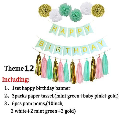 Party Dekoration 1 Set Geburtstag Dekor Gold Seidenpapier Quasten Pompons Junge Mädchen Alles Gute Zum Geburtstag Banner Baby-Dusche Kinder Gefälligkeiten Partyzubehör, Thema 12