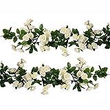 U'Artlines 2er (178cm pro Strang) Künstliche Blume Hängende Rose Blume Girlande Blumen Haus Hochzeit Garten Dekoration(69 Klein Rose Blumen, Weiß)
