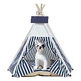 Tipi   Tienda para Mascotas De Tamaño Mediano - Cama para Perros   Gatos con Almohadas - Tiendas De Campaña   Casas para Mascotas con Almohada Gruesa Y Tabla (Rayas Azules)
