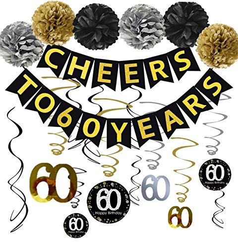 60th Birthday Party Decorations KIT - Cheers to 60 Years Banner, Sparkling Celebration 60 Hanging Swirls, Poms, Perfect 60 Years Old Party Supplies 60th Birthday Decorations
