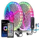Ruban LED, 20M Bande LED Ultra-longue Lumineuse LED 5050 RGB Contrôlé par Télécommande APP, Synchroniser avec Rythme de Musique, Led Ruban pour Chambre, Mariage, Fête, Noël, Cuisine