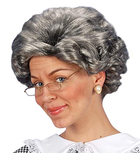 Unbekannt Perücke mit Brille Klatschtante Putzfrau Oma alte Frau Lehrerin