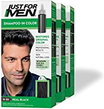 Just For Men Shampoo-In Color (Formerly Original Formula), Gray Hair Coloring for Men - Real Black, H-55, Pack of 3 (Packaging May Vary)