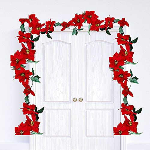 BANBERRY DESIGNS Poinsettia Garlands –Set of 2 Strands Approximately 74 Inches Long -Red Poinsettias Christmas Decorations –Decorative Floral Crafting Accessories