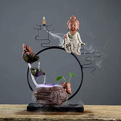 KEKEYANG Escritorio decoración Fuente Viva Oficina Sala humidificador Adornos de cerámica se Pueden Utilizar como una pecera, Color: B Fuente Interior (Color : C)