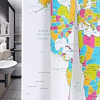 Newest World Map Shower Curtains 3D Pattern Design Creative Bathroom, Purple Floral Curtains - Old Antique Cars, Girls Coming, Red Onesies Newborn, Wireless Speakers
